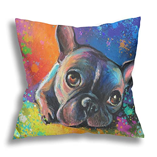 LONSANT Throw Pillow Covers French Bulldog Painting pet Portrait Custom pet Painting Splatter impressionistic Colorful Pillowcase Square Pillows Case Cushion Cover for Sofa Bed Chair,18 x 18 Inches