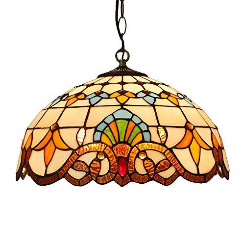 LED Tiffany Style Lámpara Colgante, Vidrieras E27 * 2 Iluminación Colgante, Dormitorio De Hierro Forjado De Una Sola Cabeza Retro Sala De Estar Hotel Lámpara De Techo 40Cm,A