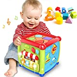 SVShoperzone Early Learning Educational Music and Colorful Shape Sorter Toys Baby 12-18 Month Activity Cube for 1 Years Old 6 12 Gift Boys Girls Kids Toddler Development & with in Blocks Toddlers