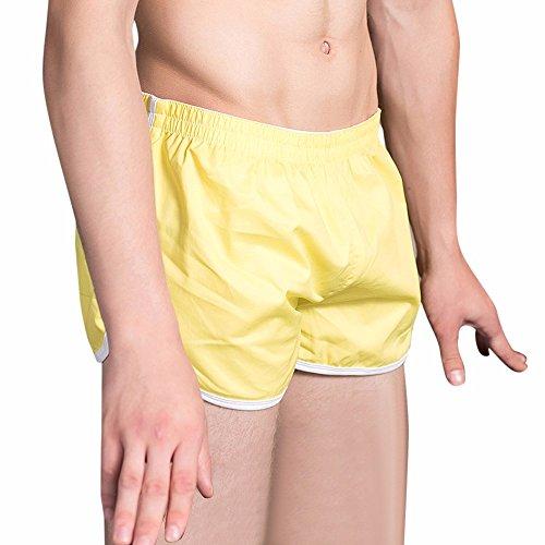 UJUNAOR Herren Boxershort Baumwolle Soft Slips Underpants(gelb,EU XL/CN 2XL)
