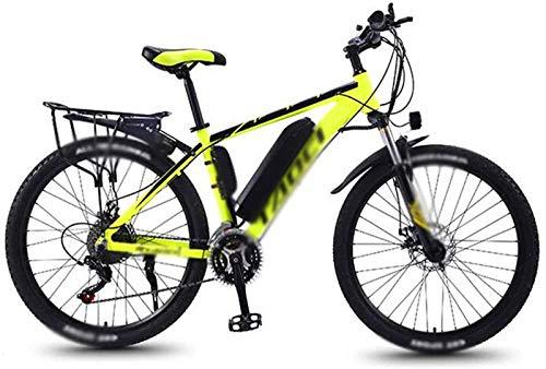 WJSWD Bicicleta de nieve eléctrica de 26 pulgadas, bicicleta eléctrica de 36 V, 13 A, 350 W, cambio de potencia, bicicleta de montaña, viajes, batería de litio para adultos (color: amarillo)