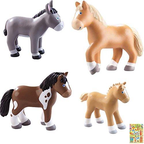 HABA Little Friends Pferde Pippa, Leopold, Tara, und Lissi, Bauernhof, Pferdehof inkl. Geschenkverpackung