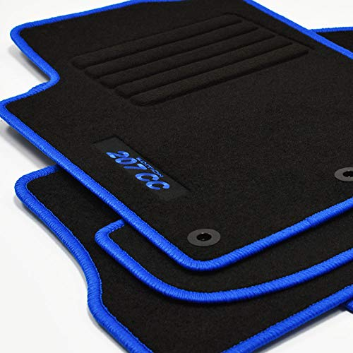 Mattenprofis Velours Logo Fußmatten passend für Peugeot 207 CC ab Bj.02/2007 - blau