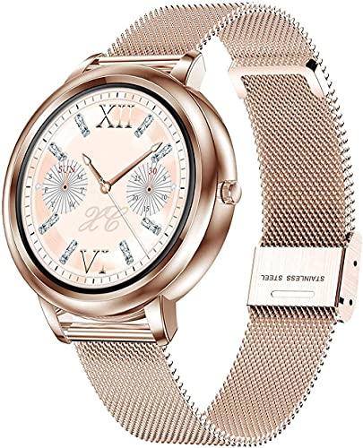 GPWDSN Smartwatch para Mujer, Rosa Dorado, Plateado, con Pantalla táctil Completa, rastreador de Ejercicios para Mujeres, Monitor de sueño, podómetro, Reloj de Pulsera, Correa de Metal, compat