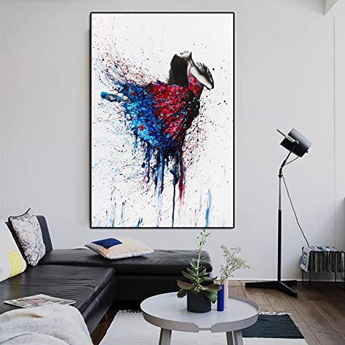 YuanMinglu Poster Aquarell Porträt Druck Tanzen Mädchen Wandkunst Malerei Stand Wohnkultur Wandbild Rahmenloses Bild 45x67cm