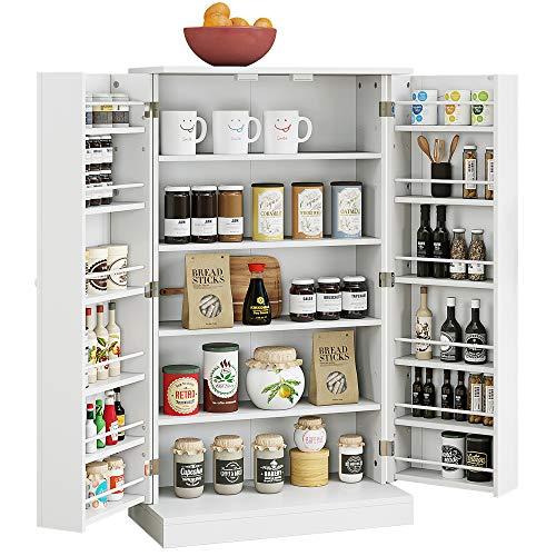 HOME BI Kitchen Pantry Cabinet, Storage Cabinet with 5 Shelves, Storage Organizer for Kitchenware, Cupboard Space Saving Cabinet, White