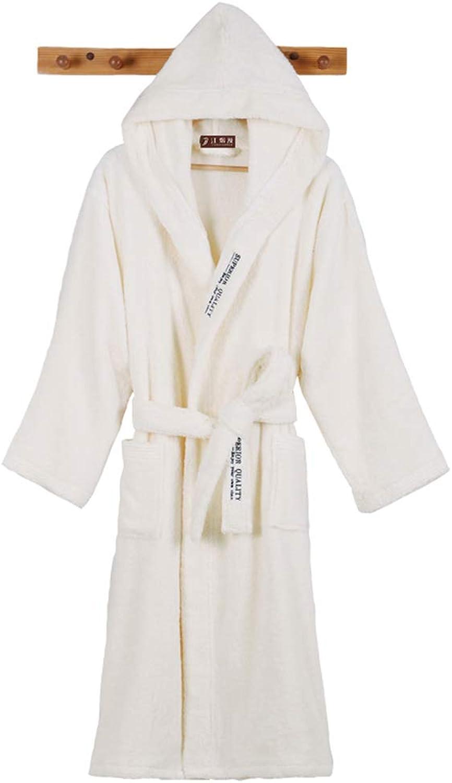 Bathrobe Dressing Gown Cotton Towel Shawl Robes Hood Robe Pajamas Hotel Bathrobes Home Service   Beige (Size   L)