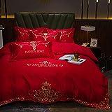 Funda nórdica Funda de colcha 150 cm-Europeo 60s lavado de agua seda algodón bordado de color sólido cama doble cama individual un solo edredón especial es suministros para dormir un regalo de cuatro
