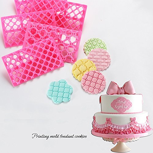 Cake Fondant Embossing Mould,9 Pack Different Patterns Fondant Embosser,Lace Flower Cookie Cutter Set,Diamond Shaped Biscuit Molds,Cake Fondant CupCake Decorating