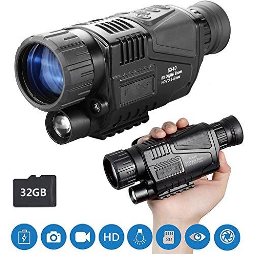 RLF LF Nachtsicht-Monokular für die Jagd, 5X40-Nachtsicht-Infrarot-IR-Kamera HD Digitales Nachtsichtgerät mit 1,5-Zoll-TFT-LCD Nehmen Sie Fotos und Videos auf