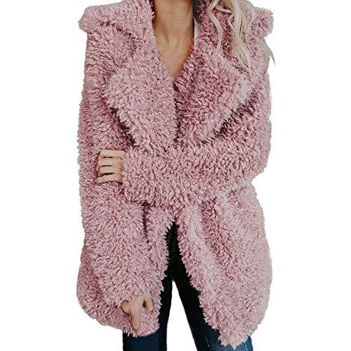Quaan Damen Warm Künstlich Wolle Mantel Jacke Revers Winter Oberbekleidung Reißverschluss...