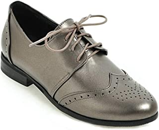 Bonrise Women's Flat Saddle Oxford Shoes Wingtip Perforated Lace Up Low Heel Vintage School Oxfords Brogues
