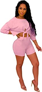 OLUOLIN 2 Pieces Tracksuits for Women Solid Color Zip up Printed Long Sleeves Tops + Shorts Pant Set