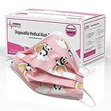 AUPROTEC 10 Stück medizinischer Mundschutz Kinder OP Masken CE-zertifiziert EN 14683 Einweg Mund-Nasen-Schutz Gesichtsmasken 3-lagig BFE 95% - Motiv: Panda