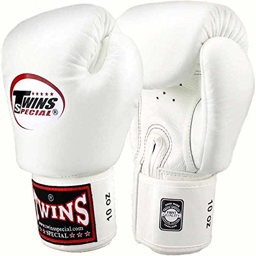 Twins Boxhandschuhe, Leder, weiß, Muay Thai, Leather Boxing Gloves, MMA Size 12 Oz