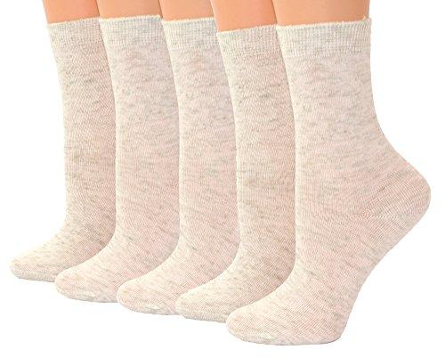 Shimasocks Kinder Socken mit Leinen Söckchen 5er Pack, Farben alle:naturmeliert, Größe:23/26 bzw. 98/104
