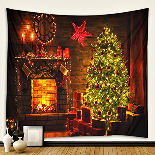 XCUGK Tapiz de Pared de Navidad para Colgar en la Pared Decoraciones de Año Nuevo Chimenea cálida Retro Colgante de Pared para Dormitorio Sala de Estar Dormitorio