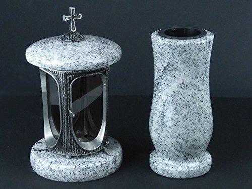 designgrab Alu Grablampe aus Aluminium in Antikoptik mit Kreuz und Grabvase Taille-medium in Granit Viscont White