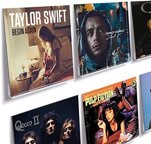 HIIMIEI Vinyl Schallplatten Wandhalterung 6 er für Platten und Fotos, 31,6 x 13,2 x 5,6 cm Schallplattenständer |Acryl Schallplatten Schweberegale mit 13 Pcs Wandschrauben - Klar