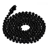 SINLEO Titanium Stainless Steel 2.4MM Small Beads Ball Chain Necklace for Men Women Black 3MM 30 Inches