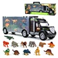 Akokie Dinosaur Toys Truck Transport Carrier Truck Toys with Dinosaur Toys Animals Toys 12 Pcs Double Inside Storage Set for Kids Boys Girls 3 Years Old by GrasshopperToys Ltd