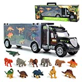 Dinosaur Toys Truck Transport Carrier Truck Toys with Dinosaur Toys Animals Toys 12 Pcs Double Inside Storage...