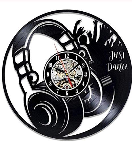 ZYBBYW Disco de Vinilo Reloj de Pared diseño Moderno Sala de Estar Tema Musical Relojes y Relojes Instrumentos Musicales Piano Guitarra Tambor Reloj de Pared decoración del hogar