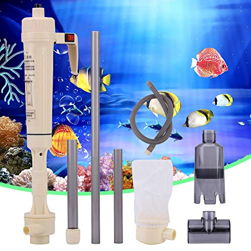 Electric Auto Aquarium Gravel Cleaner, Fish Tank Siphon Water Change Cleaning Tool, Automatic Sludge Extractor Water Changer (1 Water Inlet Tube, 2 Extension Tubes)