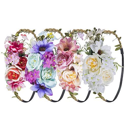 Stirnband Blumen, ZWOOS 4 Stück Stirnbänder Krone Haarband Kopfband Blume Haarbänder mit Elastischem Band für Hochzeit und Party (6)