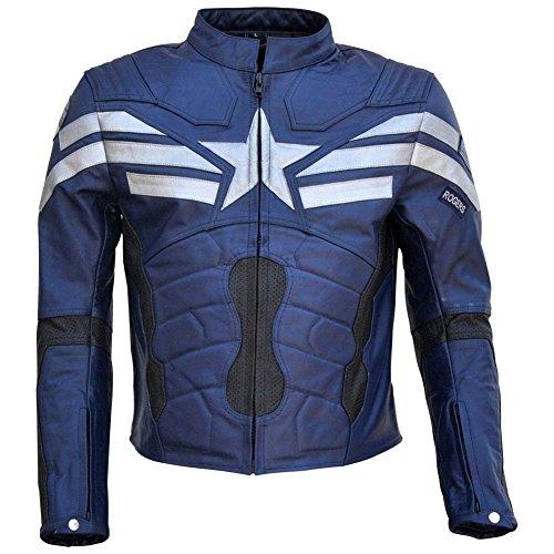 Classyak - Cazadora de piel auténtica para hombre, diseño del Capitán América Negro Vaca negra. M-Para Pecho 101,60 cm-106,68 cm