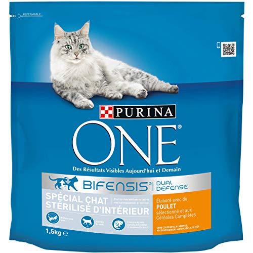Purina One - Pienso para gatos adultos esterilizados de interior, de pollo y cereales integrales, 1,5kg