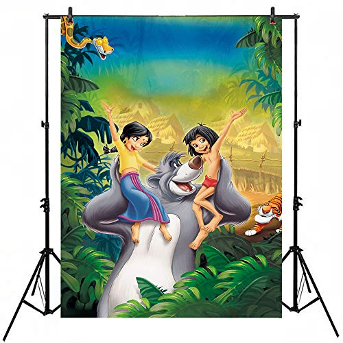 Photography Backdrop Palm Tree Wild Animal The Jungle Book Themed Birthday Photo Background Tabletop Tropical Forest Baby Shower Customize Party Banner
