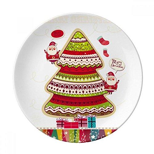 DIYthinker Illustrazione Buon Regalo dell'albero di Natale di Porcellana Decorativo Piatto di Dessert da 8 Pollici Cena Regalo a casa Diametro di 21 cm