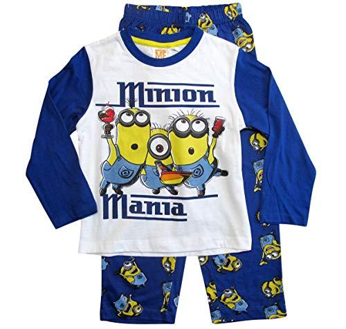 Die Minions Schlafanzug Ökotex Standard 100 Jungen (Weiß-Blau, 92-98)