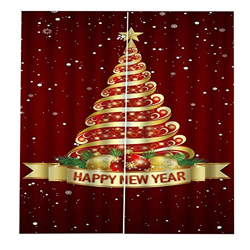Cortinas Dormitorio Para Decoracin De Ventana Navidad Habitacin - Arbol De Navidad Disfrazado Para El Nuevo Ao - Cortinas De Reduccin De Ruido Modernos Navidad Fiesta Cortinas 90Cm(W)X210Cm(H)X2