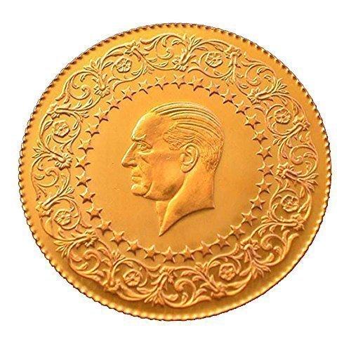 Original und Neu Türkische Goldmünze 25 Piaster Kurush  Atatürk Ceyrek Altin Ohne Öse in Kapsel mit Geschenkbeutel
