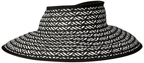 San Diego Hat Company Women's Ultrabraid Packable Stripe Roll Up Visor, Black/White, One Size