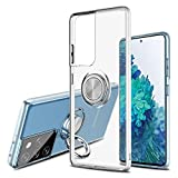 Hayder Galaxy S21 Ultra Clear Case, with 360°Rotation Ring Holder Kickstand Soft Shockproof Protective Cover Support Magnetic Car Holder Suitable for Samsung Galaxy S21 Ultra (Clear)