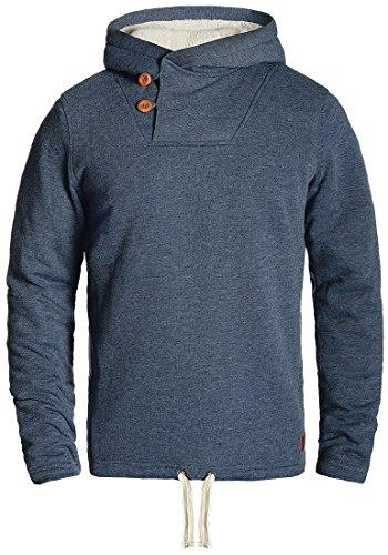 Blend Theodor Herren Winter Pullover Kapuzenpullover Hoodie Sweatshirt mit Teddy-Futter, Größe:L, Farbe:Navy (70230)