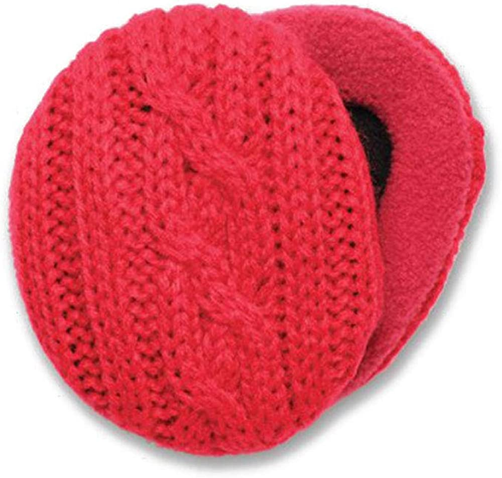 Sprigs CableKnit Bandless Ear Warmers Ear Muffs For Men & Women - Red Small