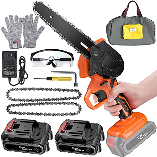 6 Inch Mini Chainsaw Cordless Power Battery Chain Saws One-Hand Operated Portable Wood Saw for Farming Tree Limbs Garden Pruning, Bonsai Trunk, and Firewood (2pcs Batteries)