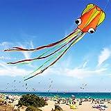VANKER Gran Cometa para Niños y Adultos,Diseño del Pulpo,Flota en la Brisa,fácil de Volar,liviano y Estable,Construido para Durar - Naranja y Verde