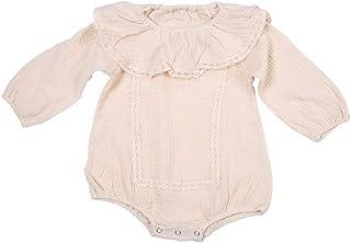 Garosa Baby Mädchen Langarm Strampler Neugeborenen Mädchen Rüschen Spitze Overall Komfortable Baumwolle Kleidung OutfitApricot 73