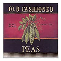ZNNHERO昔ながらのエンドウ豆のポスター北欧の壁アート野菜のキャンバスの絵画家の装飾キッチンレストランの装飾画像-60X60Cmx1フレームなし