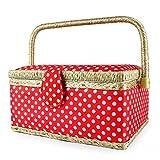 Leogreen - Boîte à Couture en Tissu Vintage, Boîte à Couture Portable, 24 x 17,5 x 13 cm, Atelier de Couture