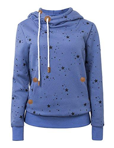 Cassiecy Damen Kapuzenpullover Winter Langarm Hoodie Pullover Baumwoll Zipped Sweatshirt Winterjacke Mantel Outwear (M, Z_Blau)