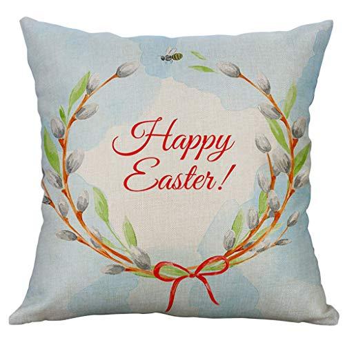 Yookstar - Funda de cojín para sofá, diseño de conejos de Pascua, 40 x 40 cm (A)