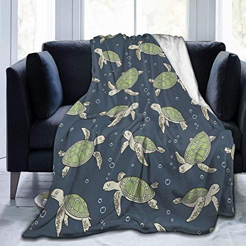 July fleecedeken van flanel, zeeschildpadden, microvezel, zeer zacht en comfortabel, marineblauw