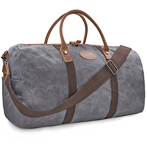 Mens Travel Duffle Weekend Overnight Bag Waterproof Vintage Canvas Genuine Leather Holdall Satchel Totes Bag Grey
