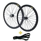 RIDDOX Berlin 700C 28 Zoll Laufradsatz Laufräder Fixie Singlespeed Hochflansch Fixed Gear Wheel Schwarz Matt 40 MM